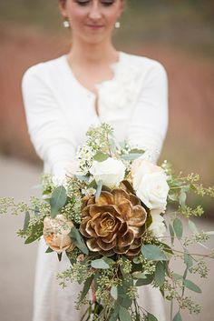 Top 2015 Wedding Trends from Chicago Wedding Planner Shannon Gail - bridal bouquet via Wren Photography Gold Wedding Bouquets, Gold Bouquet, Fall Bouquets, Floral Wedding, Wedding Colors, Wedding Flowers, Winter Bouquet, Wooden Flower Bouquet, White Bouquets