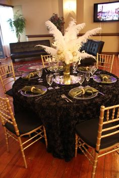 What fun in bringing in a team of professionals and create a few ideas to showcase Main Stream Events and PR Firm had a vision for holiday/great gatsby theme. Renaissance Banquet Hall was the venue we chose for our inspiration. Pull Up A Chair Party Rentals brought in their linens, chairs, Floral Gallery Inc. brought in two floral arrangements and we created several more by taking a few of the items out Picture-me-Photography was our photographer www.yourmainstream.com