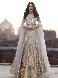 For a signature look wear this elegant hand crafted kundun blouse and gota lehnga Pakistani bridal wear Odessa by Natasha Kamal. Indian Bridal Wear, Indian Wedding Outfits, Pakistani Bridal, Pakistani Outfits, Bridal Lehenga, Indian Outfits, Gold Lehenga, Indian Wear, Bride Indian