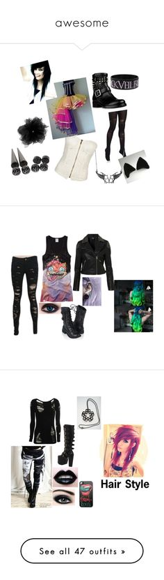 """""""awesome"""" by atleeb ❤ liked on Polyvore featuring Pretty Polly, Full Tilt, Valentino, Topshop, Forever 21, Demonia, CO, Converse, Juicy Couture and Neiman Marcus"""
