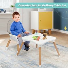 With a detachable and adjustable large tray, this 4-in-1 baby high chair can give your baby a good place to eat, play, learn and rest. And the 4 in 1 convertible design allows our high chair to be switched to 4 different shapes to meet the baby's needs at different ages. Besides, made of safe and durable materials, the quality of our chair is reliable. The 5-point seat belt can effectively prevent your baby from leaning forward or sliding out.