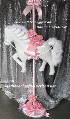 Personalized Carousel  Centerpiece SetBirthdayBaptismBaby Shower Happy Birthday