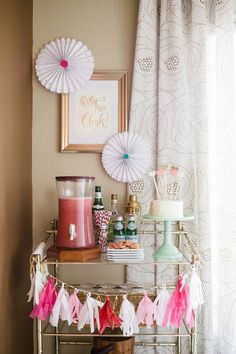 bar cart, garland, cake stand. party time.