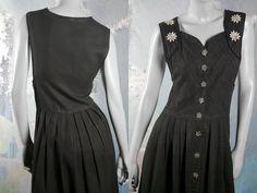 Austrian Dirndl Dress, Vintage Black Trachten German Festival Clothing: Size 10 US, 14 UK by YouLookAmazing on Etsy