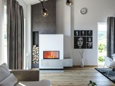 Kachelofen Modern Produkte - moderne Kamine & Kachelöfen vom Profi Home Decor, Tiling, Contemporary Design, Modern Fireplaces, Haus, Products, Interior Design, Home Interiors, Decoration Home