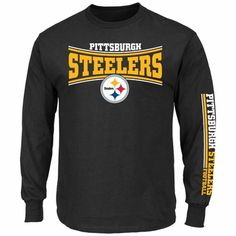 29951130716 Pittsburgh Steelers Majestic Primary Receiver Long Sleeve Men s T-Shirt