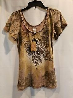 #LuckyBrand new sz small Womens msrp $69 brown butterfly flowy sleevesTop #NWT