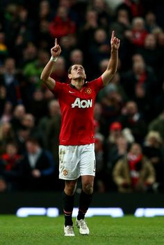 Javier Hernández celebrates after scoring his team's second goal during the Capital One Cup semi final, second leg match between Manchester United and Sunderland at Old Trafford on January 22, 2014 in Manchester, England.