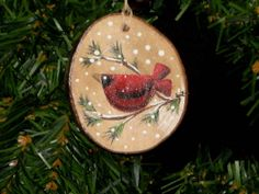 Cardinal Nest Sliced Branch Handpainted Ornament by KathysKountry, $7.00