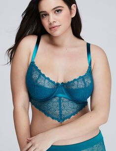 2ca9995d535a4 Fashion Bug Women s Lighly Lined Open Lace Longline French Balconette Bra  44DD Winterfresh Curvy Girl Lingerie
