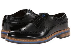 Love the single blue eyelet & blue layer in the sole.  Clarks Darby Limit Black Combi Leather