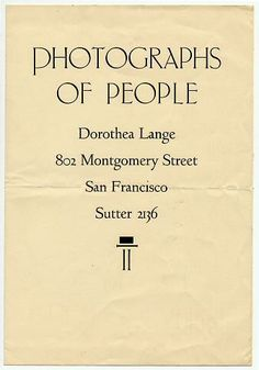 Announcement of Lange's downtown San Francisco portrait studio. © Oakland Museum of California.