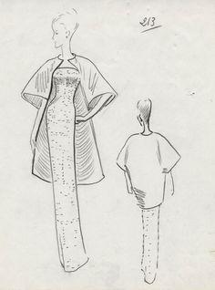 Croquis de la robe n° 213, printemps-été 1965.
