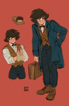 Omg I'm crying 😭 look at this piece of art! They're art style is AMAZING and BEAUTIFUL! It's so awe Also I like this idea sweet innocent goku as sweet innocent newt but if you mess with their loved ones your getting it. Dragon Ball Z, Goku Pics, Anime Crossover, Fandom Crossover, Chibi, Son Goku, Character Design Inspiration, Fantastic Beasts, Doujinshi
