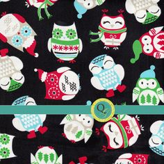 Designer Fabric By the Yard Cute Christmas Owl fabric Black  Green Red Blue With Owls with Winter Hats and Presents