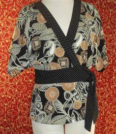 NINETY black tribal polyester blend kimono partial wrap blouse M (T0401E5) #NINETY #Blouse #Casual