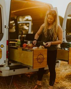 These are the cutest storage drawers. They make the campervan conversion look so organized and spacious. Makes for a really good kitchen setup for adventure. #vanlife