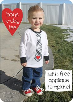 This DIY shirt is too cute! TOO CUTE! Boys Valentines Day Shirt -Momo