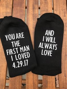 A personal favorite from my Etsy shop https://www.etsy.com/listing/525603871/father-of-the-bride-socks-father-of-the