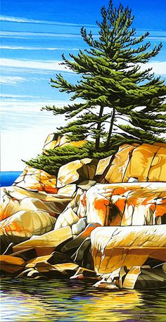 """Autumn Shoreline Fraser Bay"" by Margarethe Vanderpas Watercolor Landscape, Landscape Art, Landscape Paintings, Watercolor Paintings, Watercolours, Polychromos, Canadian Artists, Contemporary Landscape, Tree Art"