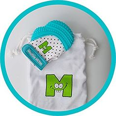 Mouthie Mitt Baby Teething Glove Aqua Unisex - USA Award Winning Baby Mitten -Soothing Pain Relief- Age 3-12 Months Protects Babys Hands from Salvia & Chewing - Secure Adjustable Strap. Great for Travel Washable Glove & Travel Bag included. Free UK Delivery: Amazon.co.uk: Baby