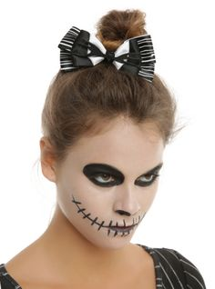 Black & white hair bow inspired by Jack Skellington's bow tie.