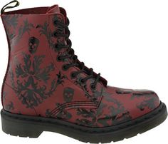 New Dr Doc Martens Cassidy Red Black Tattoo size 7
