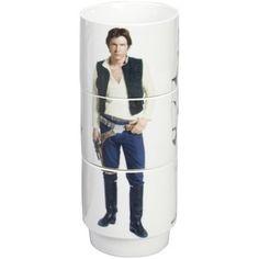 Star Wars Stacking Mugs Set of 3 Cups Stormtrooper, Luke Skywalker, Han Solo Each Holds 11 oz