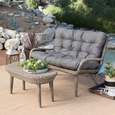 Have to have it. Belham Living Rio All Weather Wicker Loveseat and Coffee table - $849.99 @hayneedle