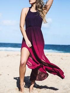 Halterneck Ombre Color High Slit Maxi Dress RED: Maxi Dresses | ZAFUL