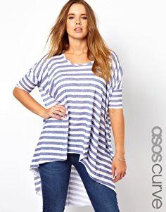 Asos Curve & Inspire (+ Size) - Exclusive Dip Back Top With Broken Stripe $43