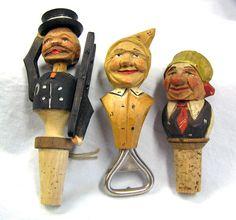 Vtg 3-pc  Italian Carved Wood Cork Articulated Bottle Stoppers & Opener Man Anri? Bar by MermeowTreasures on Etsy