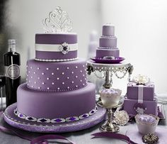 Purple wedding cake :: - I'm not interested in the purple, but I like the look of a three layer cake. I think we have four layers to account for so, mini cake all to myself? I sure hope so!!