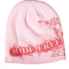 """Lady Biker Knit Hat with Screen Printed Cherries and """"Ride Free"""". Perfect for cold weather riding or under a helmet."""