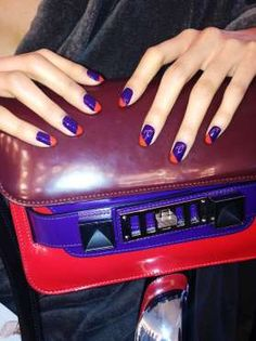 Get bold with a bright diagonal slash. The perfect indigo: Obsessive Compulsive Cosmetics in Technop... - MADELINE POOLE FOR SALLY HANSEN