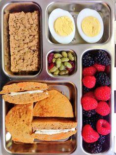 Sweet Potato Pancakes with cream cheese, raspberries, blackberries, edamame, hard boiled egg, whole grain fruit filled bar