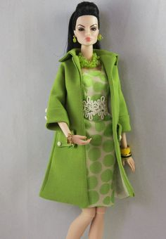 Capa y vestido set para muñecas Fashion Royalty y por Nashas