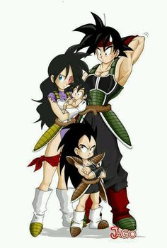 DBZ Bardock and wife, Raditz as kid and Goku as baby