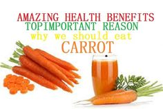 Health Benefits of carrots.Most of the benefits of carrots can be attributed to their beta-carotene and fiber content. This root vegetable is also a good source of antioxidant agents. Furthermore, carrots are rich in vitamin A, Vitamin C, Vitamin K, vitamin B8, pantothenic acid, folate, potassium, iron, copper, and manganese. An overwhelming body of evidence exists suggesting that increased...