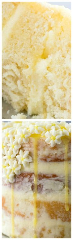Lemon Elderflower Cake ~ Beautiful, simple, rustic, and delicious... The lemon flavor is dominant, but not overpowering and there is a hit of that sweet elderflower with each bite.