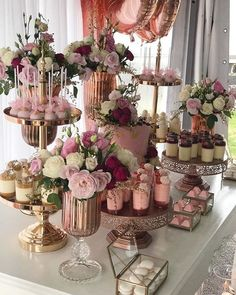 Dessert Table Set Up Wedding ; Dessert Table Set Up - bridal shower decorations Wedding Desserts, Wedding Cakes, Wedding Decorations, Elegant Desserts, Brunch Wedding, Easy Desserts, Wedding Candy Table, Brunch Party, Wedding Ideas