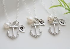 Set of 6,Anchor Necklace,Anchor with leaf initial,Pearl,Sailors Anchor,Wedding Jewelry,Bridesmaid gifts,daily Jewelry,strength. $168.00, via Etsy.