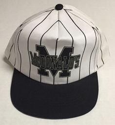 Vtg McDonalds Snapback Hat Black White 90s Striped Baseball Cap 1990s    eBay #McDonalds #BaseBall #90s #vtg #baseball #striped #1990s #1998 #hat