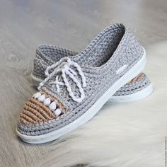 Обувь ручной работы. Ярмарка Мастеров - ручная работа. Купить Мокасины хлопковые. Handmade. Серый, обувь на заказ, балетки вязаные