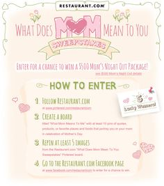 Enter for a chance to win a $500 Mom's Night Out Package from Restaurant.com. Create your board and enter on our Facebook page http://rst.cm/wbbdO