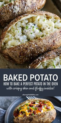 Oven baked potatoes with crispy skin and tender, fluffy insides! How to Bake a Perfect Potato in the Oven – The best way to make baked potatoes with salty, crispy skin and tender, fluffy insides! Easy Baked Potato, Making Baked Potatoes, Perfect Baked Potato, Baked Potato Recipes, How To Bake Potatoes, Best Oven Baked Potatoes, Steak And Baked Potato, Potatoes In Oven, Baked Food