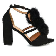 354a1a8a70c Eranda-01 Black Suede Pom Pom T-strap Buckled Chunky Heels - Traffic Shoe