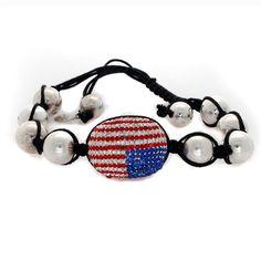 "Twiggy LONDON ""Flag""Pave Crystal Black Cord Beaded Bracelet A003 #affinityengagement #Pave"
