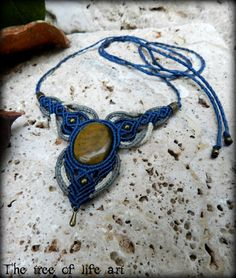 Macrame necklace with Tiger eye stone & bronze metal beads/Ethnic jewelry/Boho macrame/Festival necklace/Healing jewelry/Tribal macrame