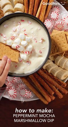 This holiday season, celebrate with the flavorful taste of peppermint. At your next holiday party, make a delicious bowl of Peppermint Mocha Marshmallow Dip. Featuring Peppermint Mocha Flavor Nestlé® Coffee Mate® and Cinnamon Cream Flavored Nestlé® Coffee Mate® natural bliss® All-Natural Coffee Creamer, this tasty treat pairs perfectly with graham crackers, pretzels and bananas.